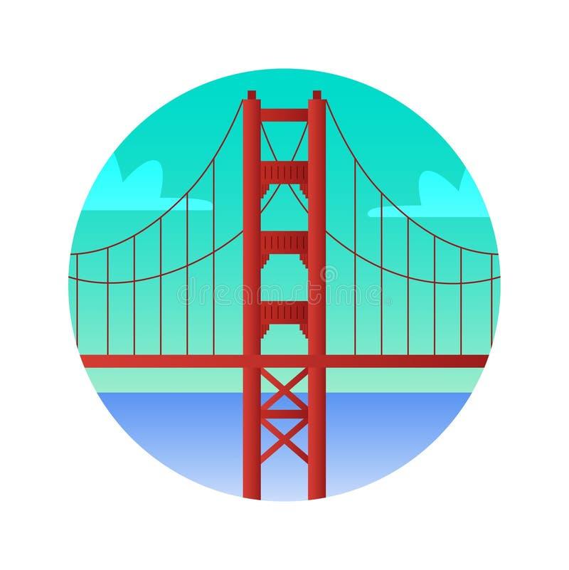 Golden Gate Bridge koloru płaska ikona Widoki San Francisco Stany Zjednoczone ilustracji