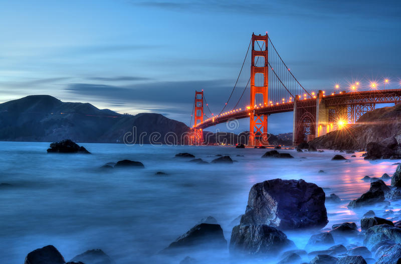 Golden Gate Bridge with Lights. royalty free stock photos