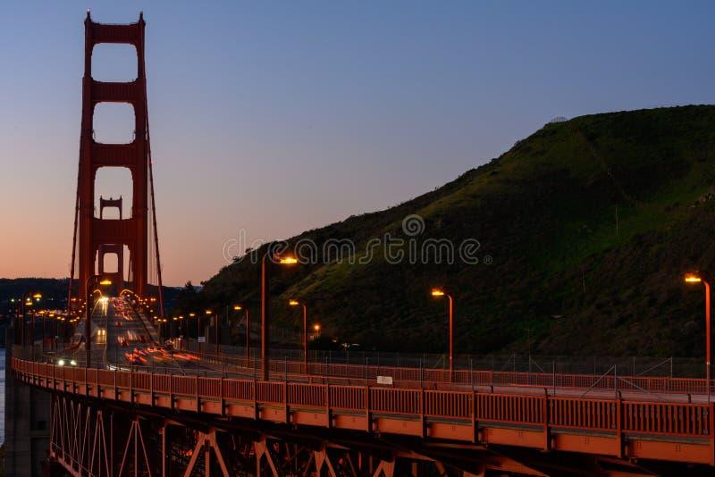 Golden Gate Bridge and Marin Headlands. At dusk stock photo
