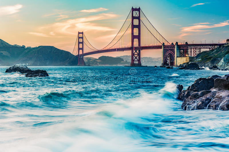 golden gate bridge from Marshall Beach royalty free stock photos