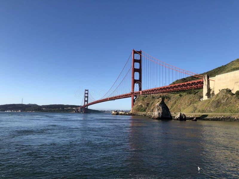 Golden Gate Bridge at morning light looking from Horseshoe Bay. San Francisco,USA royalty free stock photography