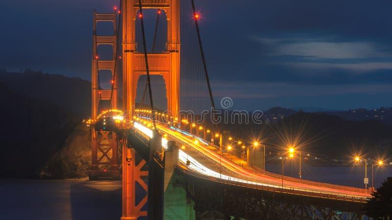 Golden gate bridge na noite, San Francisco fotografia de stock