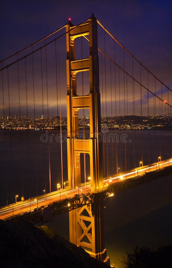 Golden Gate Bridge Night San Francisco stock photography