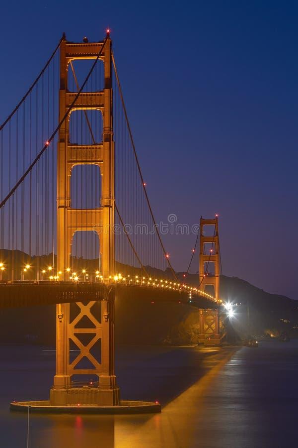Golden Gate Bridge at Night in San Francisco, California, United States stock image