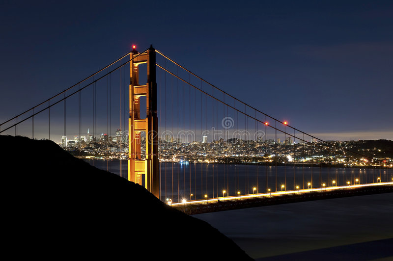 Download Golden Gate Bridge At Night With San Francisco Sky Stock Image - Image of transport, night: 7789603