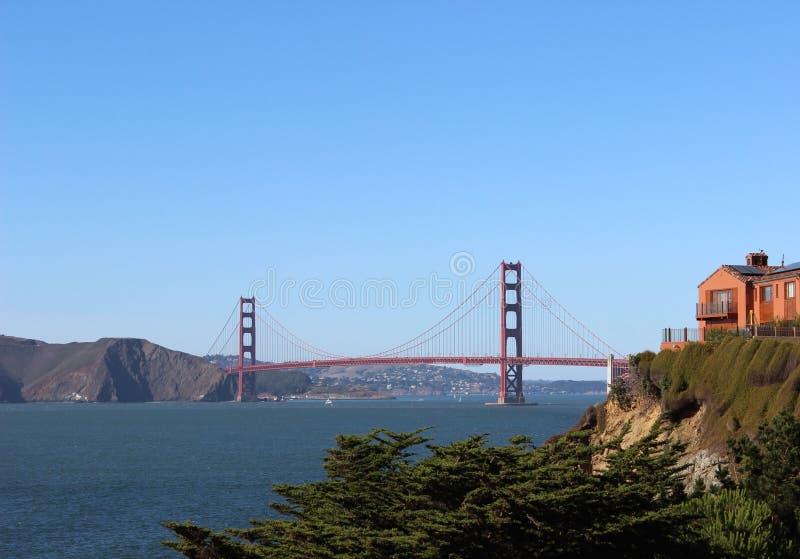 Golden gate bridge from baker beach. The sunny summer day in San Francisco, California, United Staite of America. stock image