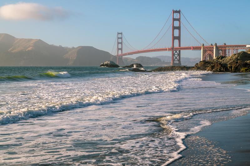 Golden gate bridge Pacifique Marshall Beach photos stock