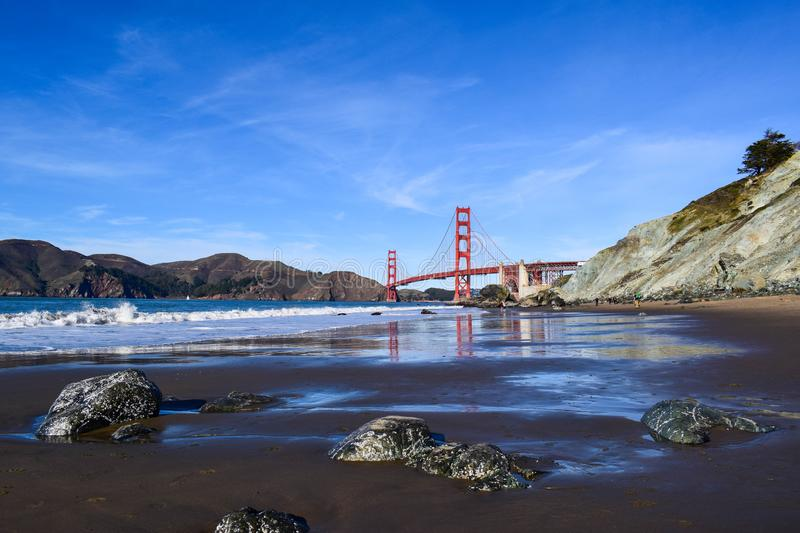 Golden Gate Bridge Panoramic View from Baker Beach on a Sunny Summer Day. Classic panoramic view of famous Golden Gate Bridge seen from Baker Beach on a sunny stock photography