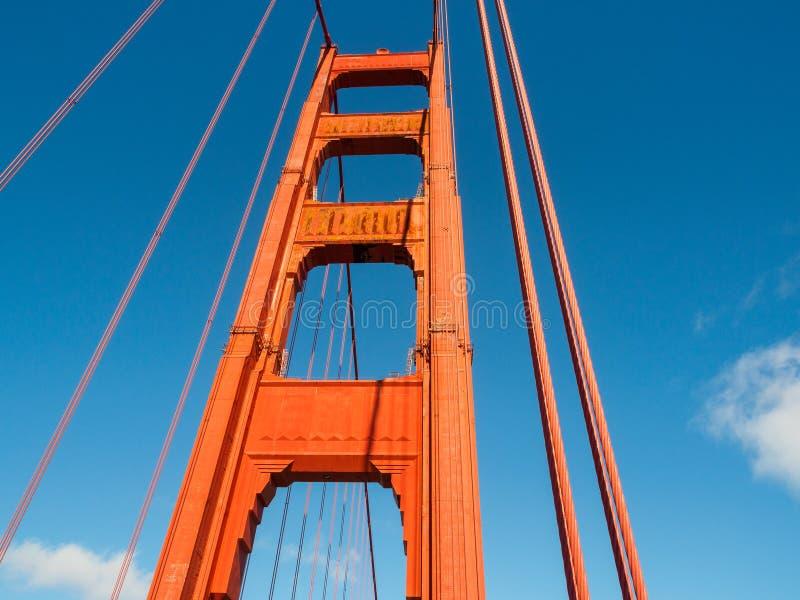 Golden Gate Bridge Pillar in San Francisco, California royalty free stock photo