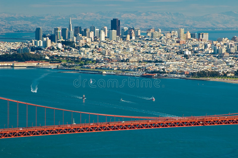 Golden Gate Bridge and San Francisco royalty free stock photos
