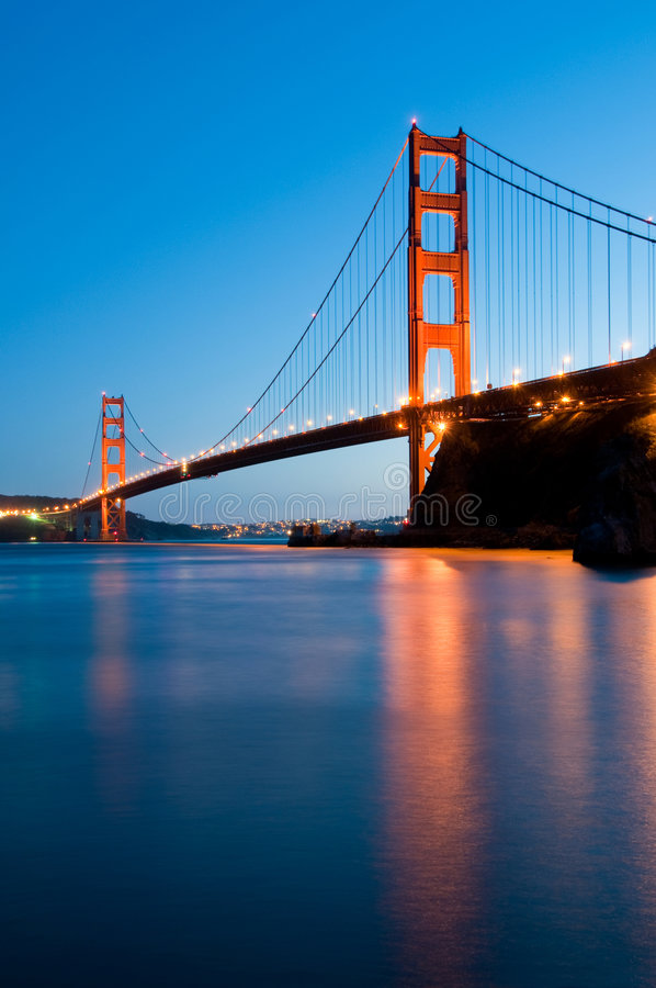 Golden Gate Bridge, San Francisco. Golden Gate Bridge in San Francisco shot from Fort Baker at dusk stock photo