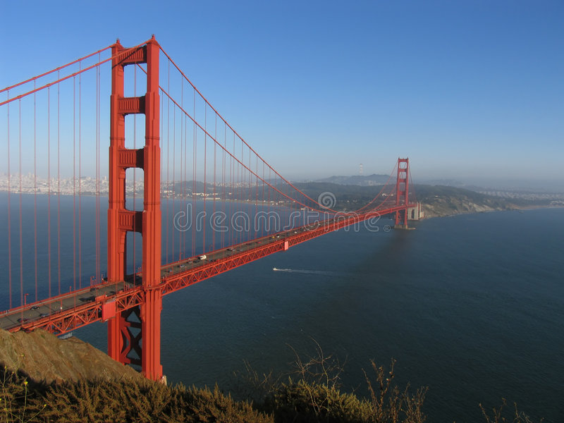 Golden Gate Bridge and San Francisco Bay royalty free stock photography