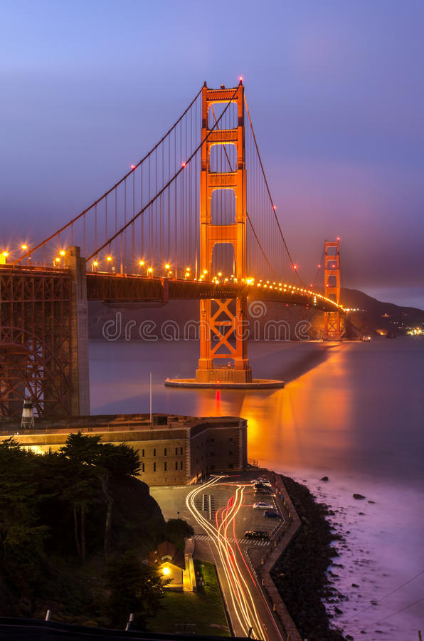 Golden Gate Bridge, San Francisco, California. The famous San Francisco Golden Gate Bridge in California, United States of America. A long exposure of Fort Point royalty free stock photo