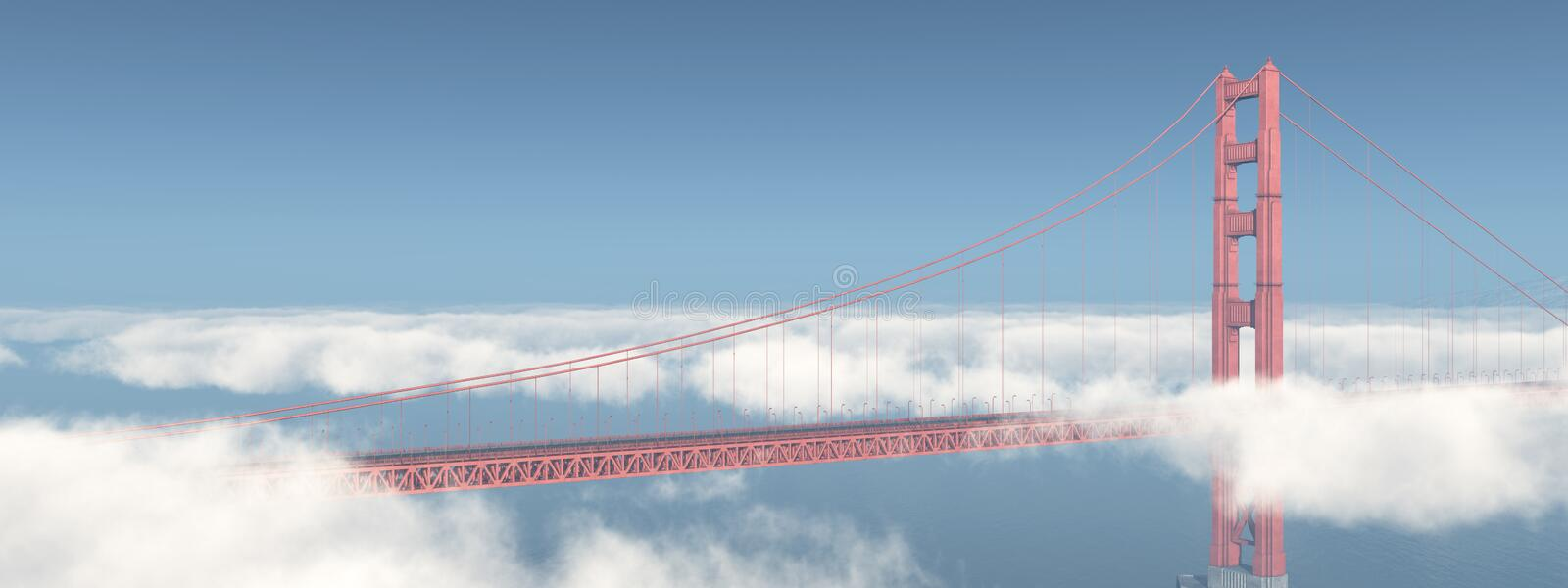 Golden Gate Bridge in San Francisco. Computer generated 3D illustration with the Golden Gate Bridge in San Francisco stock illustration