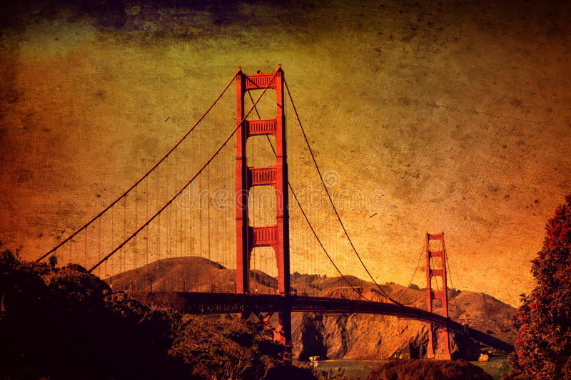 Golden gate bridge San Francisco con effetto dell'annata di lerciume royalty illustrazione gratis