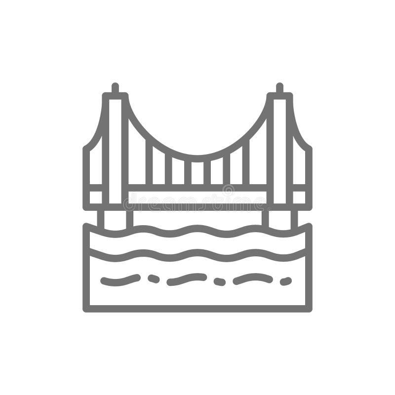 Golden gate bridge, San Francisco, linea icona di U.S.A. illustrazione di stock