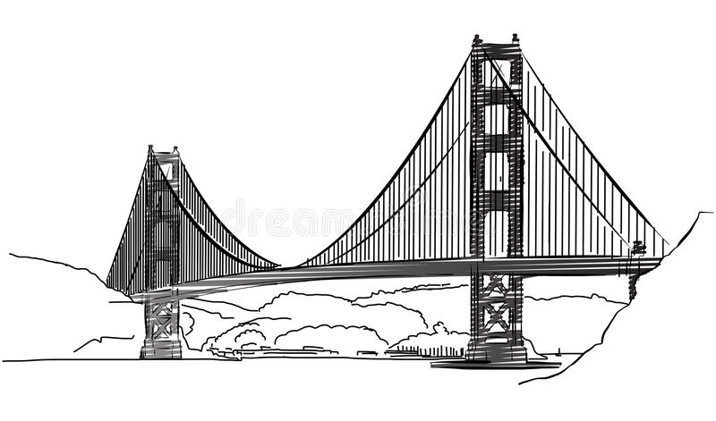 Golden Gate Bridge, San Francisco, Outline Sketch. Hand-drawn Vector Artwork stock illustration