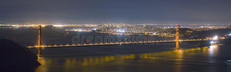 Golden Gate Bridge and San Francisco skyline panorama at night stock photos