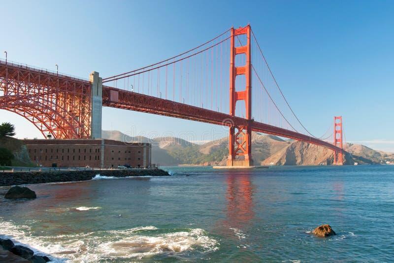 The Golden Gate Bridge in San Francisco sunset stock photos