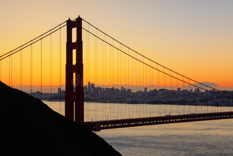 Golden Gate bridge in San Francisco, USA. Beautiful Golden Gate the entrance to San Francisco, California, USA. Sunrise scene and down town as a background stock photo