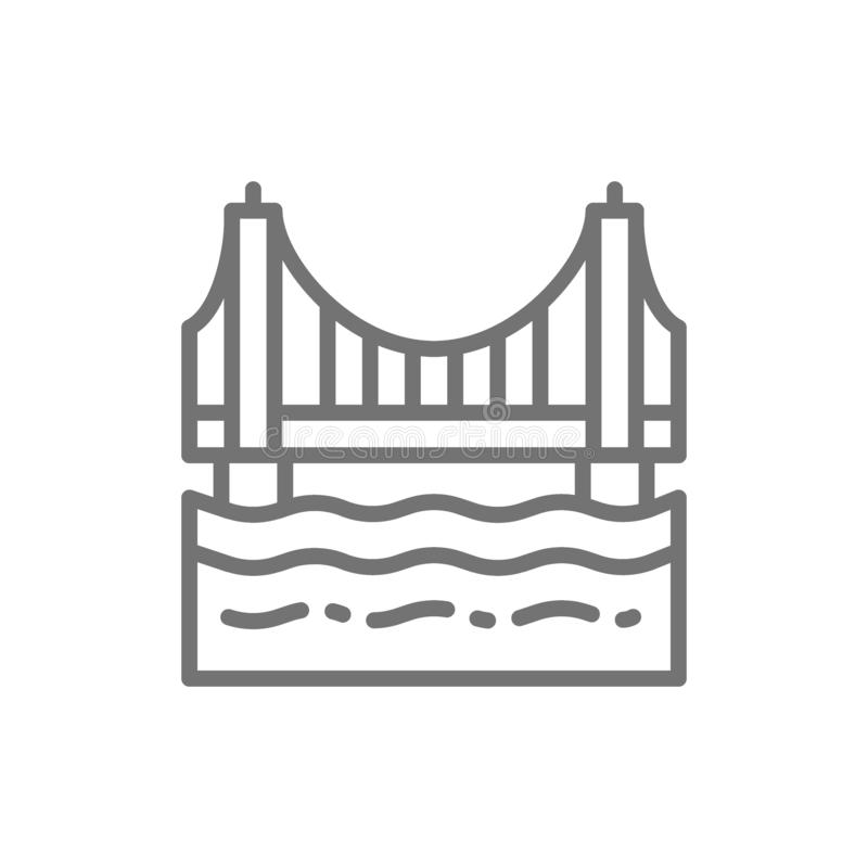 Golden gate bridge San Francisco, USA linje symbol stock illustrationer