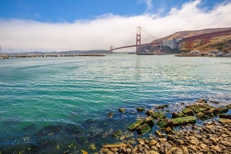 Golden Gate Bridge Sausalito. Landscape of Golden Gate Bridge from Presidio Yacht Club, north shore, Horseshoe Bay, Sausalito, California, United States. Symbol stock image