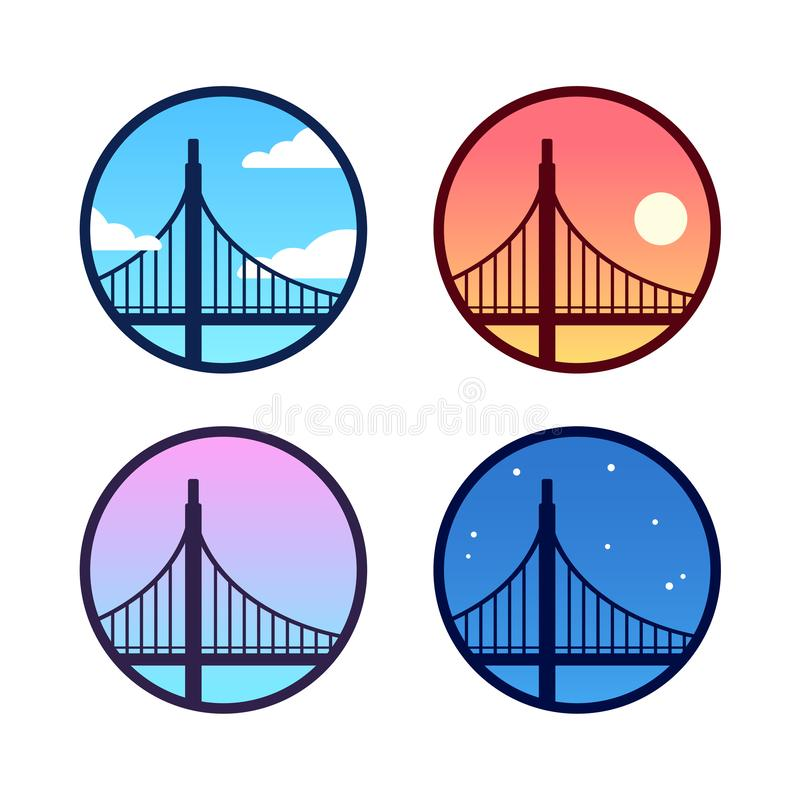 Golden Gate Bridge set. Golden Gate Bridge icon set with different sky background color: day, night, sunset. Simple San Francisco landscape logo variations royalty free illustration