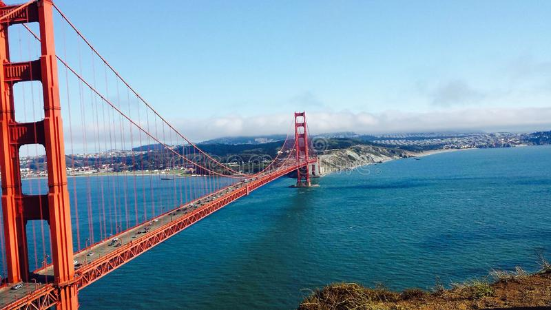 Golden Gate Bridge Side View royalty free stock photos