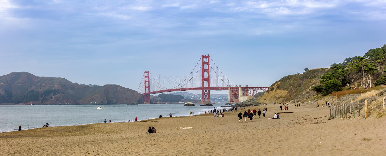 The Golden Gate Bridge is simply impressive. Even on a cloudy day stock image