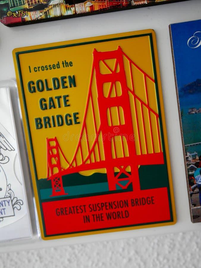Golden Gate Bridge souvenir magnet - I crossed the bridge greatest suspension bridge in the world stock photos