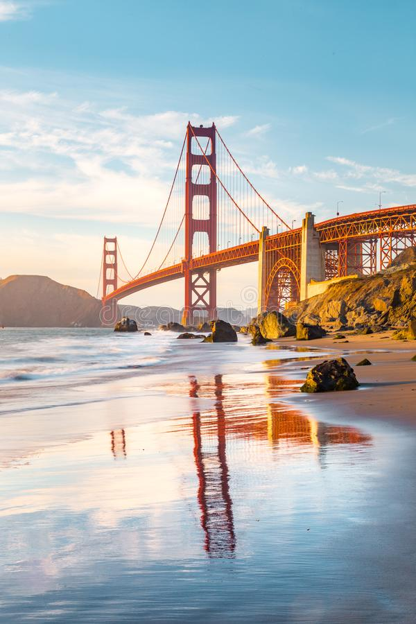 Golden Gate Bridge at sunset, San Francisco, California, USA stock images