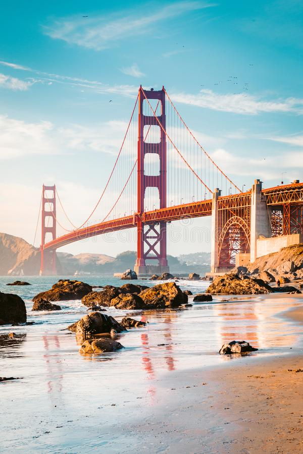 Golden Gate Bridge at sunset, San Francisco, California, USA royalty free stock images