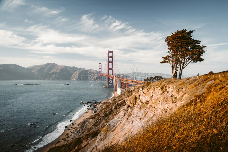 Golden Gate Bridge at sunset, San Francisco, California, USA stock photo