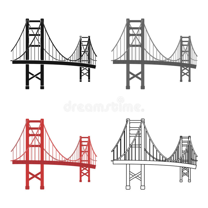 Golden gate bridge symbol i tecknad filmstil på vit bakgrund Illustration för vektor för materiel för USA landssymbol stock illustrationer