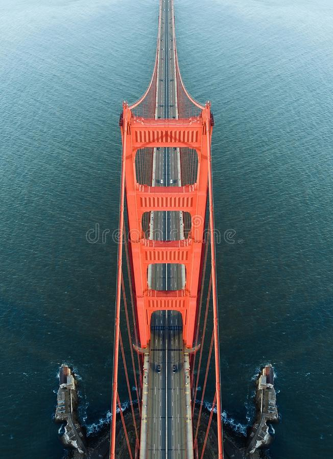 Golden gate bridge-symmetrie stock afbeeldingen
