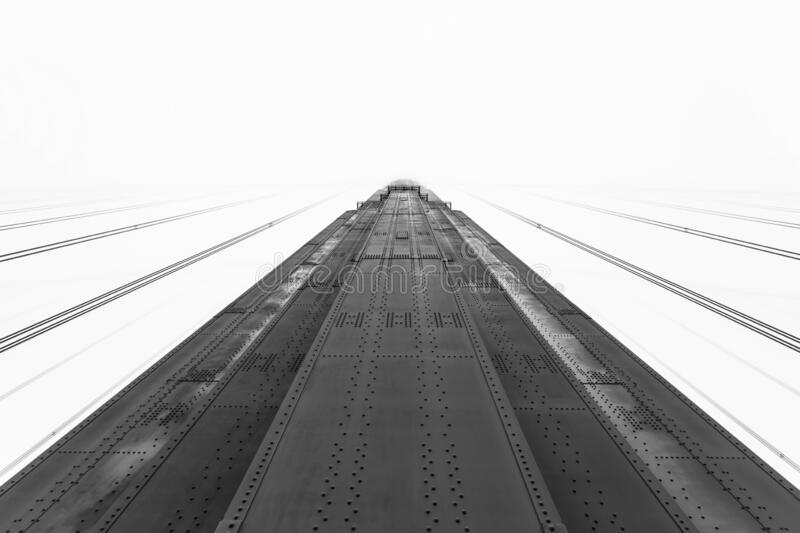 Golden Gate Bridge Tower Black and White royalty free stock photography