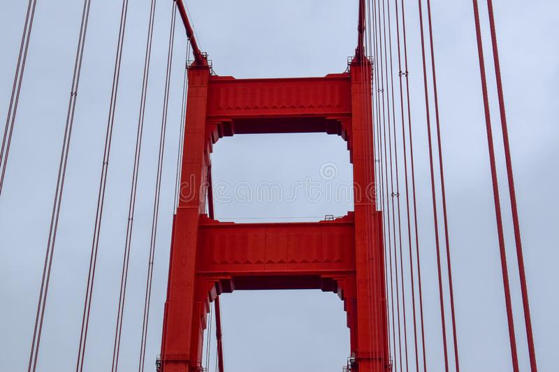 Golden Gate Bridge Tower Focus. Close-up photo of the Golden Gate Bridge North Tower. Photo taken in January 2019 royalty free stock photo