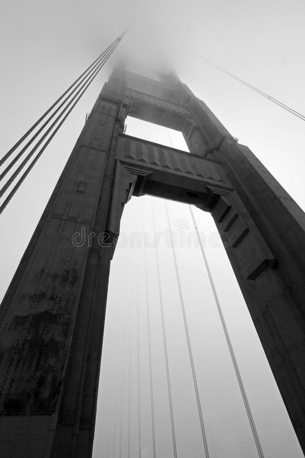 Free Golden Gate Bridge Tower In Black And White With Fog Rolling, San Francisco Stock Photo - 111880680