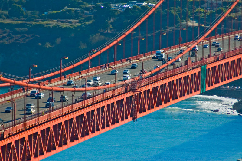 Golden Gate Bridge traffic royalty free stock images