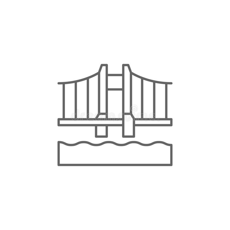golden gate bridge usa outline icon. Elements of independence day illustration icon. Signs and symbols can be used for web, logo, royalty free illustration
