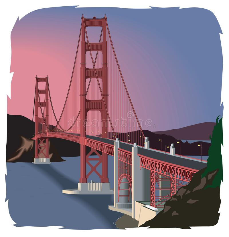 Golden gate bridge vektorillustration royaltyfri illustrationer