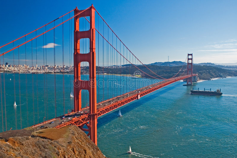 Golden Gate bridge view stock photo