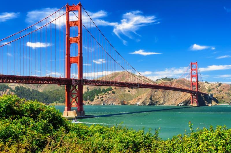 Golden gate bridge vivid day landscape royalty free stock photos