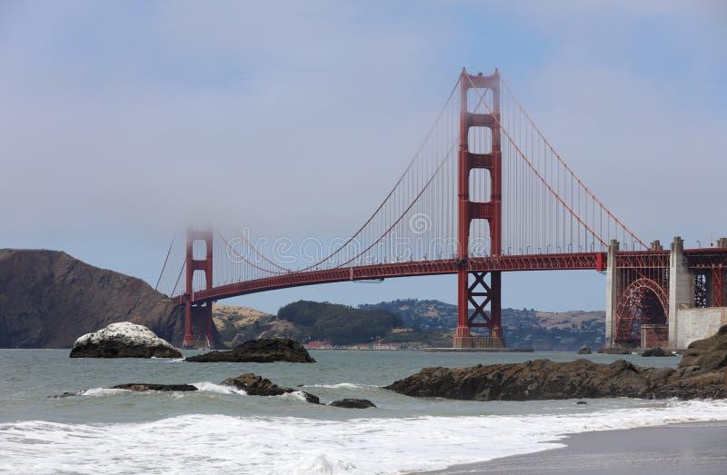 Golden gate bridge vom Bäcker Beach in San Francisco kalifornien lizenzfreie stockfotografie