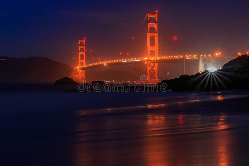Golden Gate Bridge w San Fransisco od piekarz plaży przy zmierzchem obraz stock