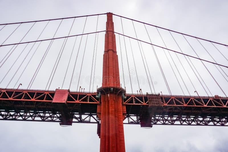 Golden gate bridge, wie von unterhalb gesehen, San Francisco, Kalifornien stockfotografie