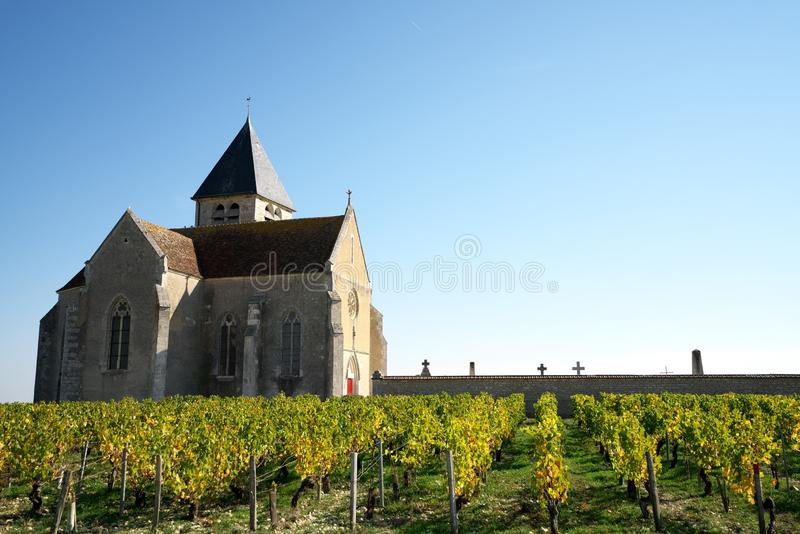 Golden Gate of Burgundy, village of Chablis in Bourgogne region, famous for white wine. Chablis,France-October 16, 2018: Golden Gate of Burgundy, village of stock images