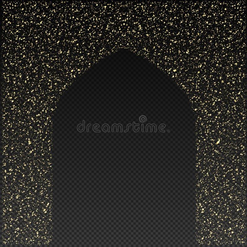 Golden Gate della moschea su un vettore trasparente del fondo royalty illustrazione gratis