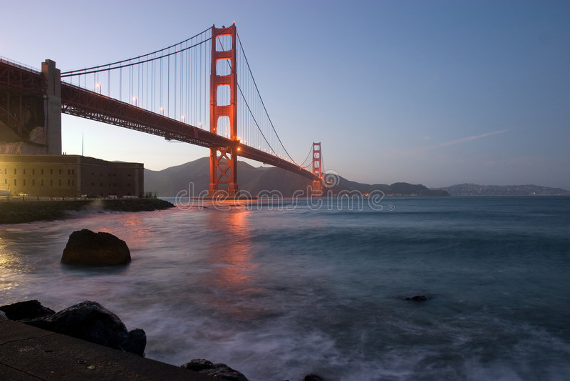 Golden Gate at dusk stock photography