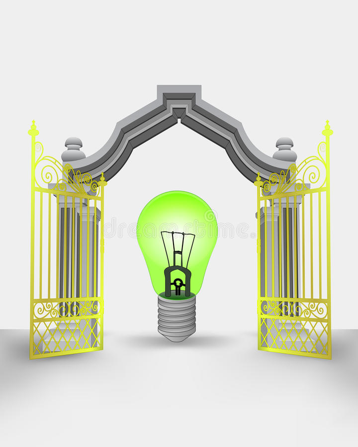 Golden gate entrance with green ecological bulb stock illustration